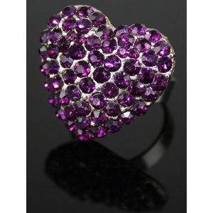 Purple Heart Crystal Ring