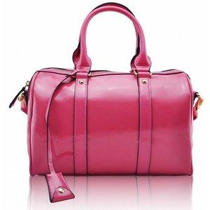 Pink Patent Barrel Handbag