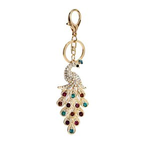 Anna Grace: Gold Metal Crystal Peacock Bag Charm