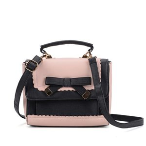 Contrasting Color Cross Body Bag with Bow