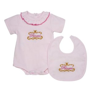 "Aurora Royal: ""Princess"" Bodysuit en slabbetje (0-6 mnd)"
