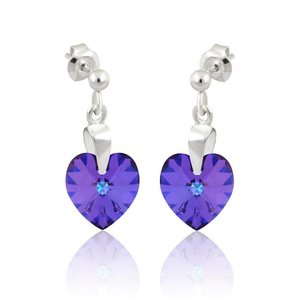 SWAROVSKI: Crystal Heart Earrings 'Heliotrope' (22 mm)