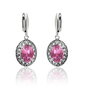 SWAROVSKI: Crystal Oval Earrings 'Rose' (39 mm)