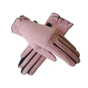 Pink Button Frilly Gloves