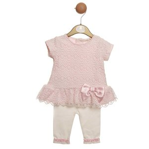 Mintini Baby: 2-delige set 'Lace & Bow' (3-24 mnd)