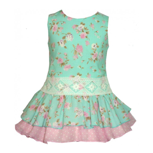 ALBER: SPANISH FLORAL MINT DRESS (5-12 jaar)
