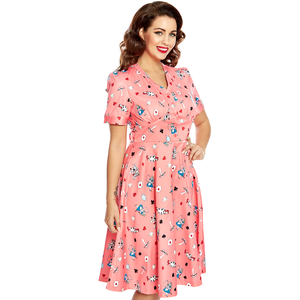 LINDY BOP - 'IONIA' Pink Alice in Wonderland Tea Dress