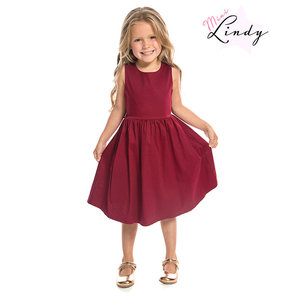LINDY BOP - 'MINI AUDREY' Children's Burgundy Dress