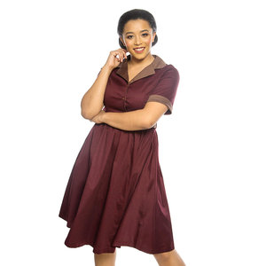 LINDY BOP -  'BLETCHLEY' Merlot Swing Dress