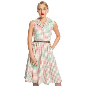 LINDY BOP -  'MATILDA' Pink Green Gingham Rockabilly Shirt Dress