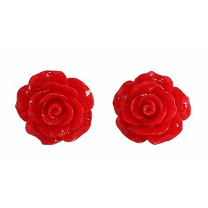 COLLECTIF - English Rose Stud Earrings RED