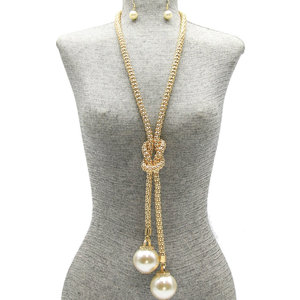 NY - Long Knot Pearl Pendant Necklace Set
