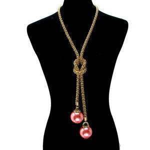 NY - Long Knot Pearl Pendant Necklace