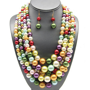 NY -Multi-Strand Layered Pearl Necklace Set