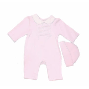 MINTINI BABY - Jumpsuit with Hat 'Pleated Pink'