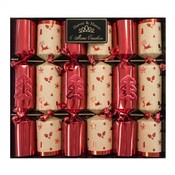 6 Red and Craft Christmas Tree Crackers (20 cm)