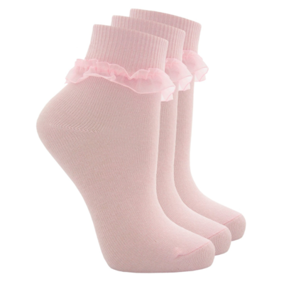 3 pack girls socks with frill