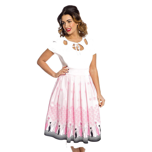 Lindy Bop - MARNIE  Swing Skirt 'Pink Cats'