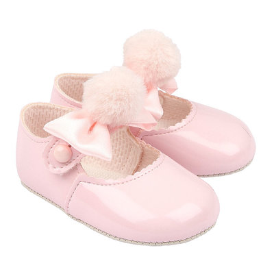 BAYPODS - Baby Patent Shoe with Bow and Pompom
