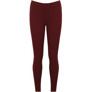 JERSEY RIBBED LEGGINGS - Wine