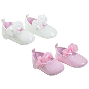 SOFT TOUCH - Baby Patent Shoes with Flowers