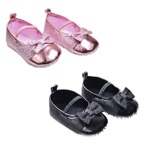 SOFT TOUCH - Baby Glitter Shoes with Bow