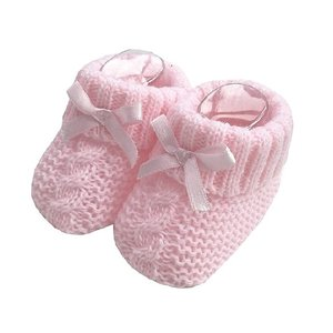 Knitted Booties with ribbon Bow