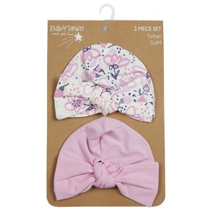 2 Turban Baby Hats with Knot