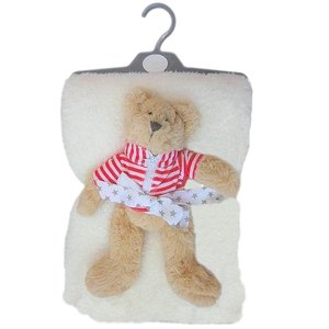 Pitter Patter Fur Blanket with Bear