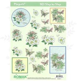 Romak 3D sheet Romak Megumi Flowers Butterflies