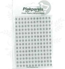 Hobbytheek Plak Parels Zilver-Silver 5 mm