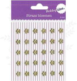 Hobby Idee Strass Blumen Gold-8mm