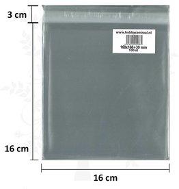 Hobbycentraal Vierkante Kaartenzakjes met plakstrip 100st 160x160x35