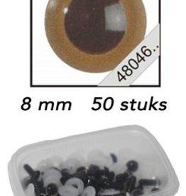 Le Suh Veiligheids Ogen mokka 8mm 50st