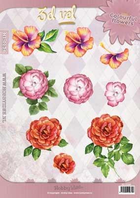 Hobby Idee 3D vel Bloemen Hobbyidee Colourful flowers