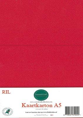 Hobbycentraal A5 Kaartkarton 20 vel rood