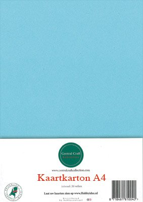 Hobbycentraal A4 Kaartkarton  10 vel  licht blauw