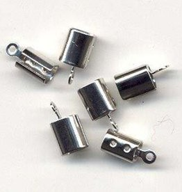 Hobby Crafting & Fun Cord clasp large 7x5 mm., Platinum, 6pcs/bag