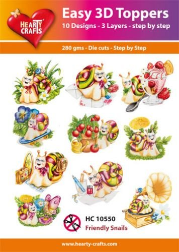 Hearty Crafts Easy 3D-Toppers Friendly Snailes