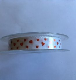 Hearts Ribbon White Red