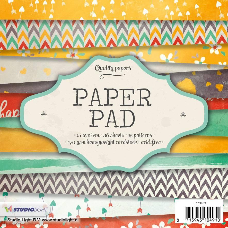 Studiolight Paper Pad 15 x 15 cm, 36 sheets, 12 patterns nr.83