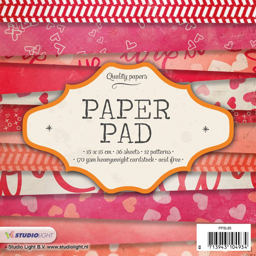 Studiolight Paper Pad 15 x 15 cm, 36 sheets, 12 patterns nr.85