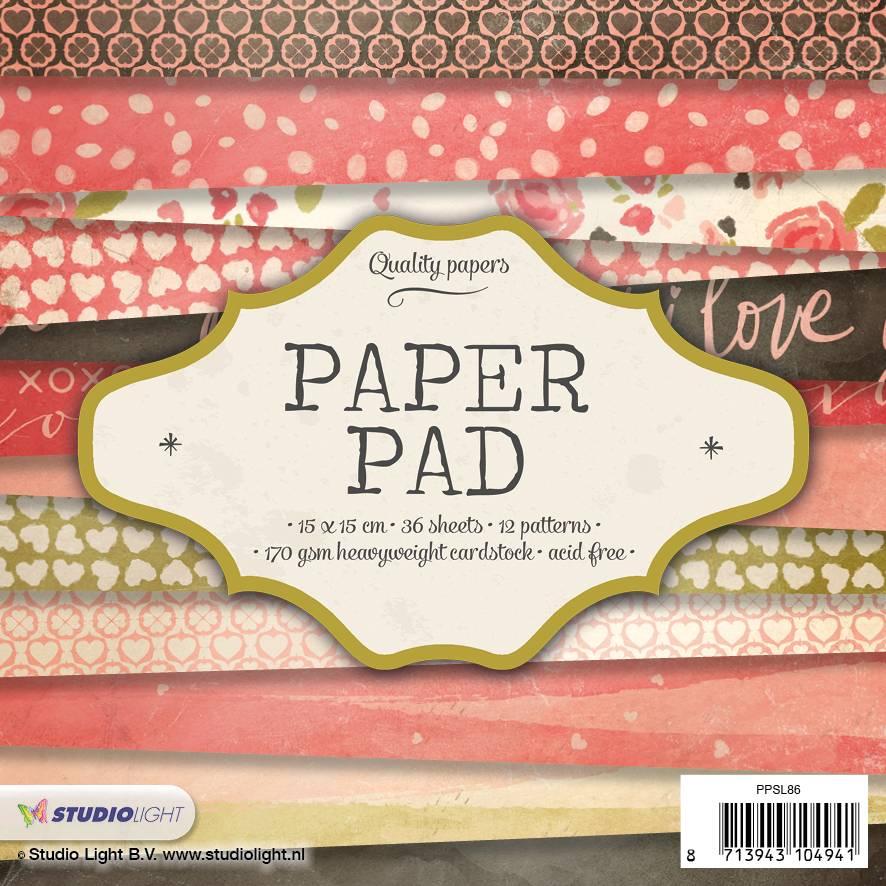 Studiolight Paper Pad 15 x 15 cm, 36 sheets, 12 patterns nr.86