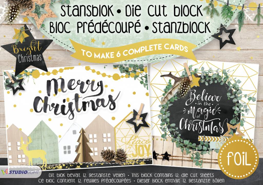 Studiolight Stansblok A5 Die Cut Folie, Bright Christmas nr.15