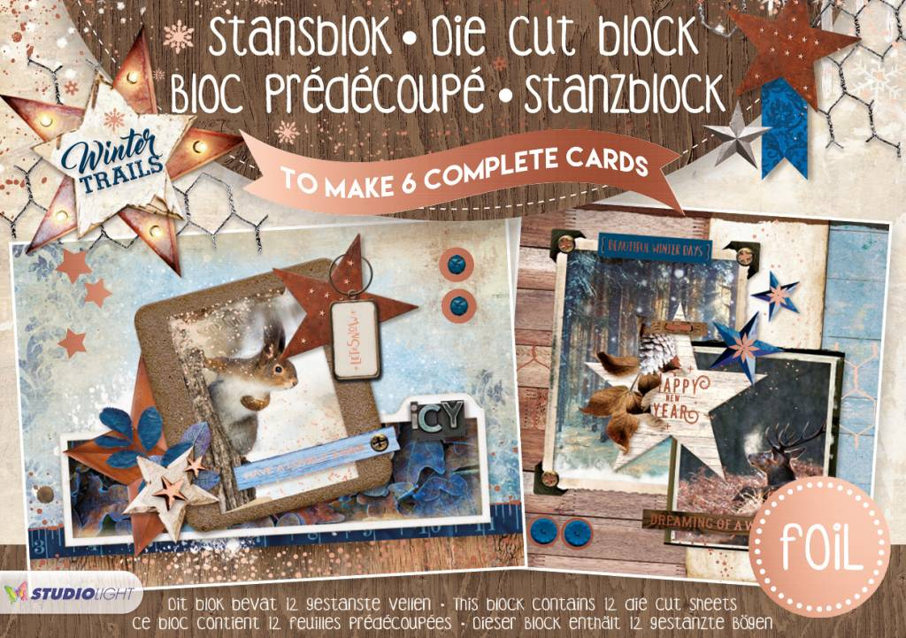 Studiolight Stansblok A5 Die cut Folie, Winter Trails nr.18
