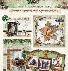 Studiolight Stansblok A4, content 12 sheets die cut, Woodland Winter nr.69