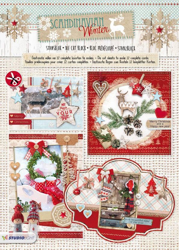 Studiolight Stansblok A4, content 12 sheets die cut, Scandinavian Winter nr.70