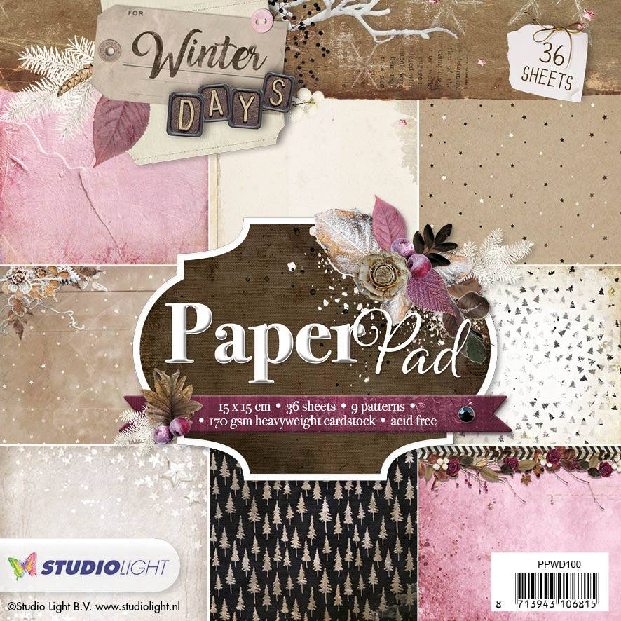 Studiolight Paper Pad 15 x 15 cm Winter Days, nr.100