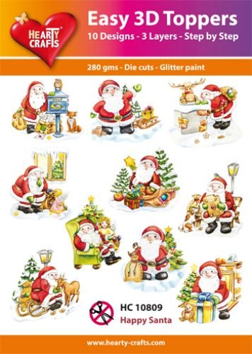 Hearty Crafts Easy 3D-Toppers Happy Santa