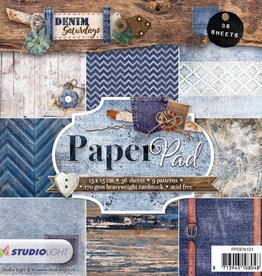 Studiolight Paper Pad 15 x 15 cm, Denim Saturdays nr.103